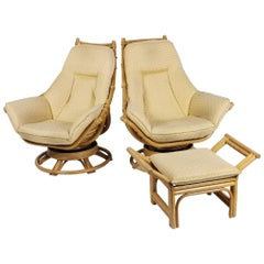 1970s Pair of Rattan Rocking and Swivel Lounge Chair with Ottoman , USA