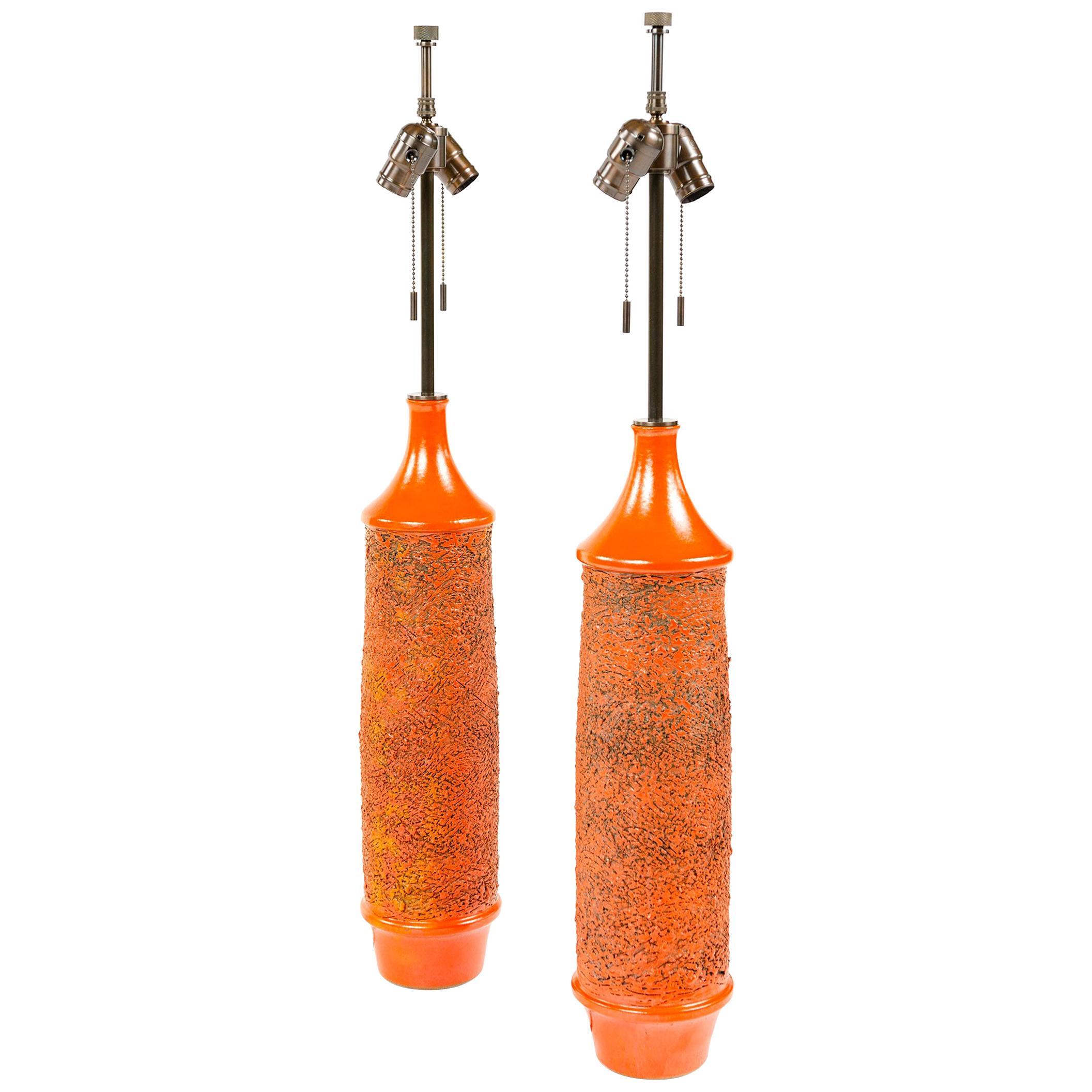 1970s Pair of Red-Orange Ceramic Table Lamps by Lee Rosen for Design Technics
