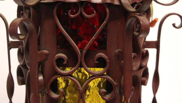 1970s Pair of Red Steel Lanterns with Amber Glass with Twist Details 5