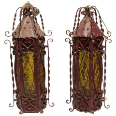 1970s Pair of Red Steel Lanterns with Amber Glass with Twist Details