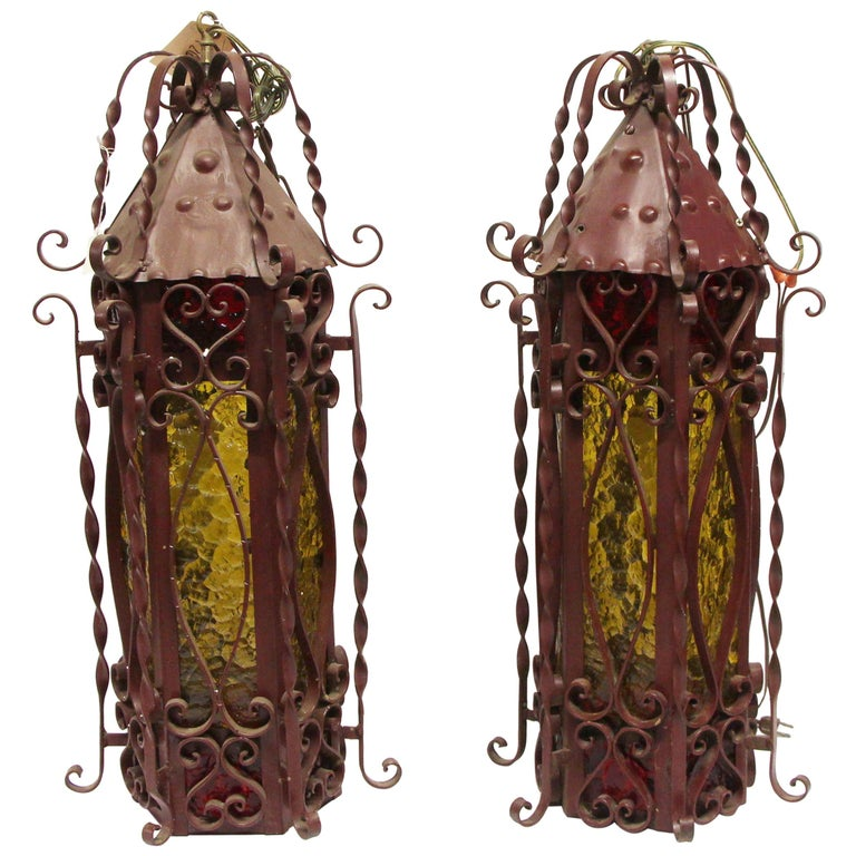 1970s Pair of Red Steel Lanterns with Amber Glass with Twist Details 1