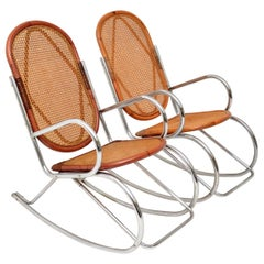 1970s Pair of Retro Chrome and Bamboo Rocking Chairs