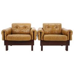 1970s Pair of Scandinavian Cognac Leather Armchairs