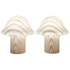 1970s Pair of Small Striped Peill & Putzler Mushroom Table Lamps