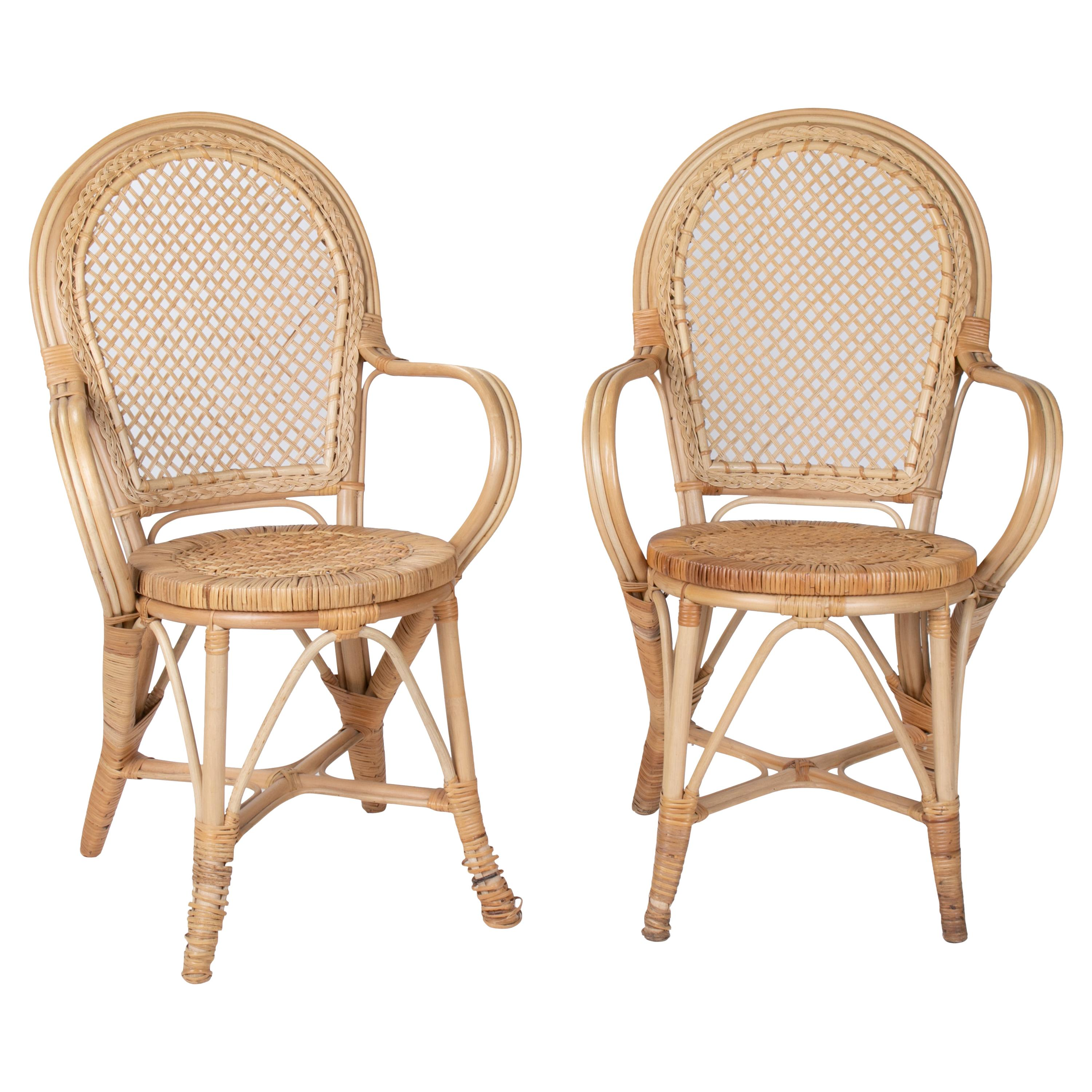 1970s Pair of Spanish Bamboo and Wicker Armchairs