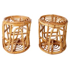 1970s Pair of Spanish Bamboo and Wicker Stools