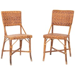 1970s Pair of Spanish Bamboo and Wood Chairs