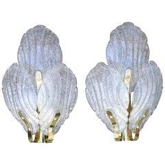 1970s Pair of Spanish Bronzed and Murano Glassed Wall Lights
