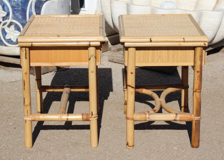 1970s Pair Of Spanish Cane And Lazed Wicker Bedside Tables