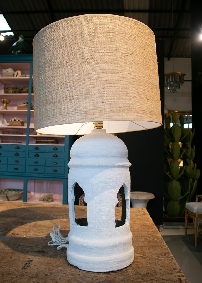 1970s pair of Spanish ceramic table lamps painted in chalk white.
