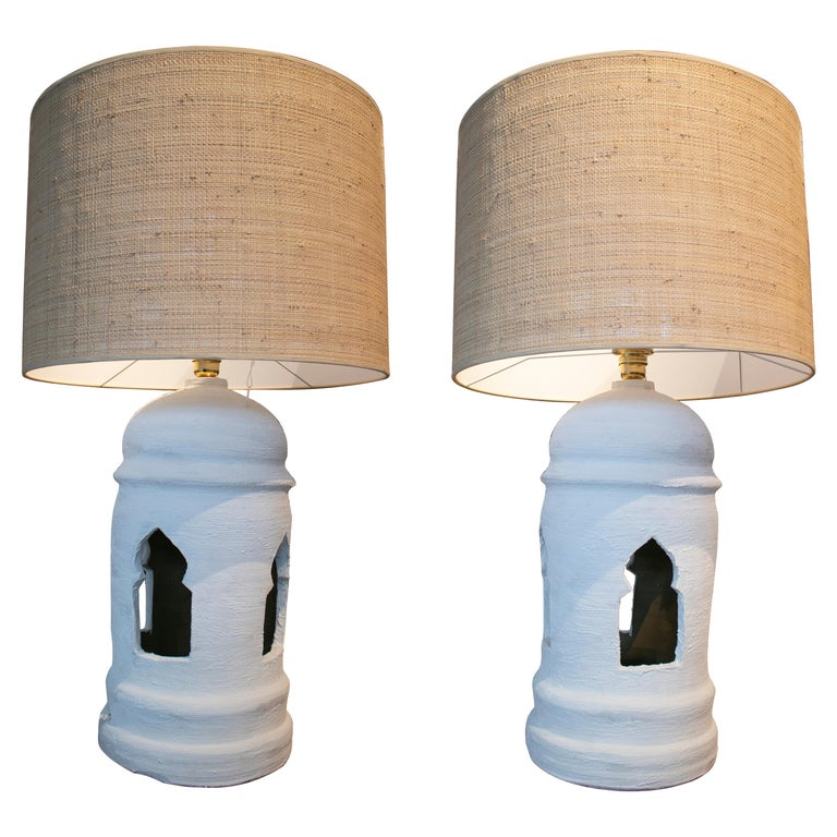 1970s Pair of Spanish Ceramic Table Lamps Painted in Chalk White For Sale