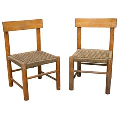 1970s Pair of Spanish Chairs with Woven Wicker Seats