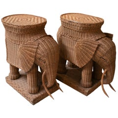 1970s Pair of Spanish Hand Woven Wicker Elephant Pedestal Side Tables