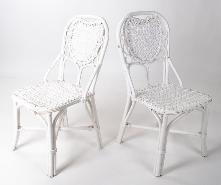1970s Pair of Spanish Handmade White Wicker Wooden Chairs In Good Condition For Sale In Malaga, ES