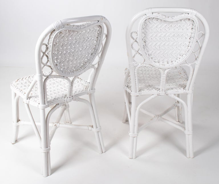 20th Century 1970s Pair of Spanish Handmade White Wicker Wooden Chairs For Sale