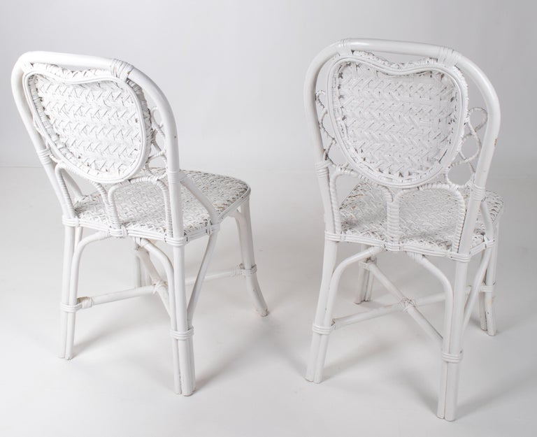 1970s Pair of Spanish Handmade White Wicker Wooden Chairs For Sale 1