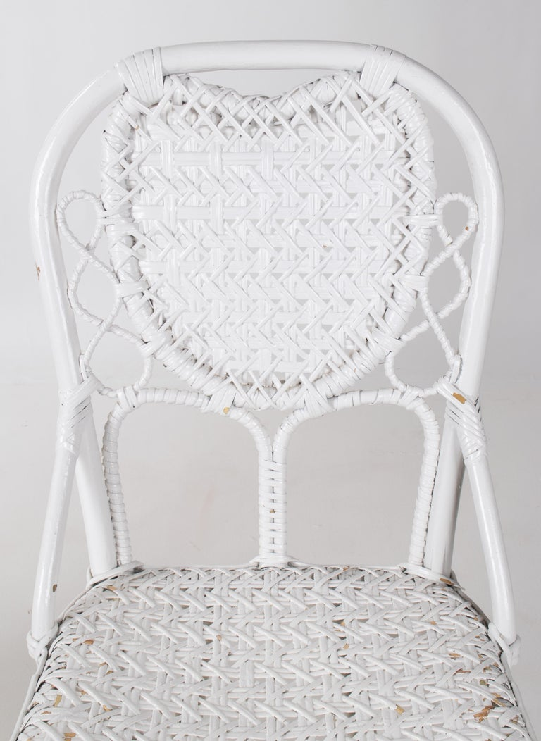 1970s Pair of Spanish Handmade White Wicker Wooden Chairs For Sale 2