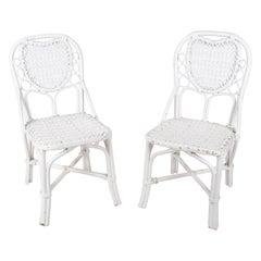 1970s Pair of Spanish Handmade White Wicker Wooden Chairs