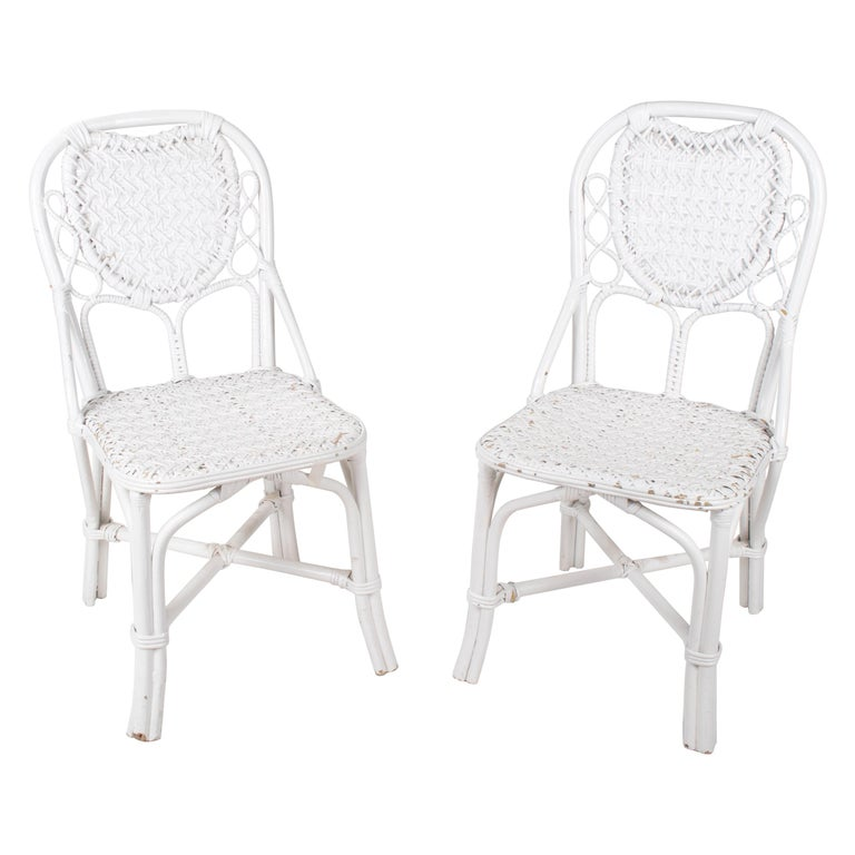 1970s Pair of Spanish Handmade White Wicker Wooden Chairs For Sale