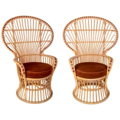1970s Pair of Spanish Handmade Wicker and Bamboo Armchairs