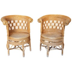1970s Pair of Spanish Handmade Wicker Armchairs