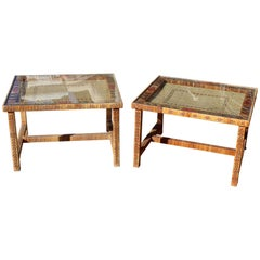 1970s Pair of Spanish Handwoven Wicker Side Tables