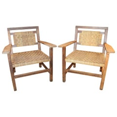 1970s Pair of Spanish Laced Wicker Wooden Armchairs