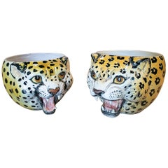 1970s Pair of Spanish Leopard Glazed Ceramic Vases