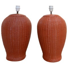 1970s Pair of Spanish Red Ceramic Table Lamps Imitating Hand Woven Wicker