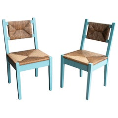 1970s Pair of Spanish Traditional Andalusian Bulrush Chairs