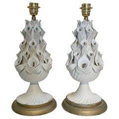 1970s Pair of Spanish White Porcelain Table Lamps