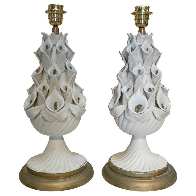 1970s Pair of Spanish White Porcelain Table Lamps For Sale