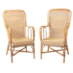 1970s Pair of Spanish Wicker and Bamboo Handmade Armchairs
