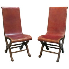 1970s Pair of Spanish Wood and Red Leather Tall Back Chairs