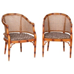 1970s Pair of Spanish Wooden Armchairs Imitating Bamboo