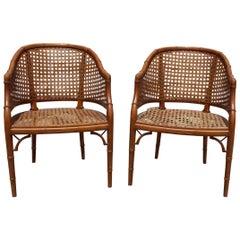 1970s Pair of Spanish Wooden Chairs Imitating Bamboo