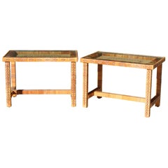1970s Pair of Spanish Woven Wicker Wooden Bedside Tables