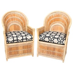 1970s Pair of Split Bamboo Armchairs