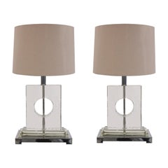 1970s Pair of Stylish Italian Lucite & Chrome Rectangular Table Lamps inc Shades