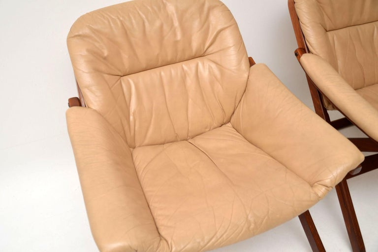 1970s Pair of Swedish Leather Armchairs For Sale 1
