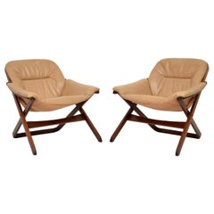 1970s Pair of Swedish Leather Armchairs