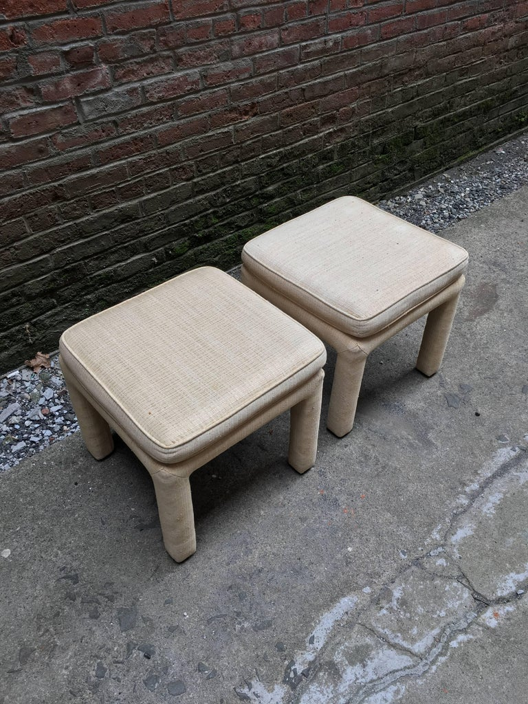Mid-Century Modern 1970s Pair of Upholstered Parsons Stools For Sale