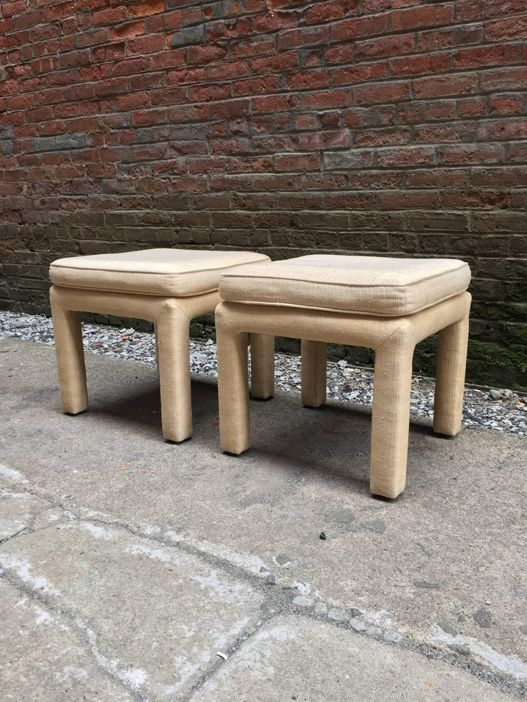American 1970s Pair of Upholstered Parsons Stools For Sale