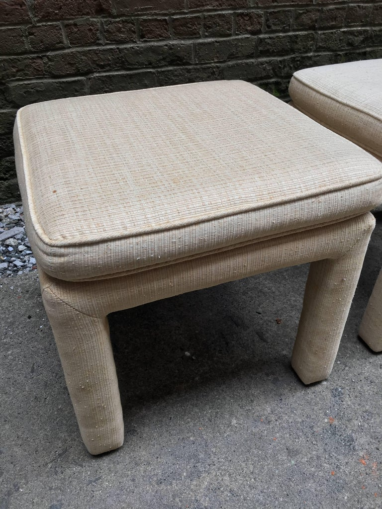 1970s Pair of Upholstered Parsons Stools For Sale 1