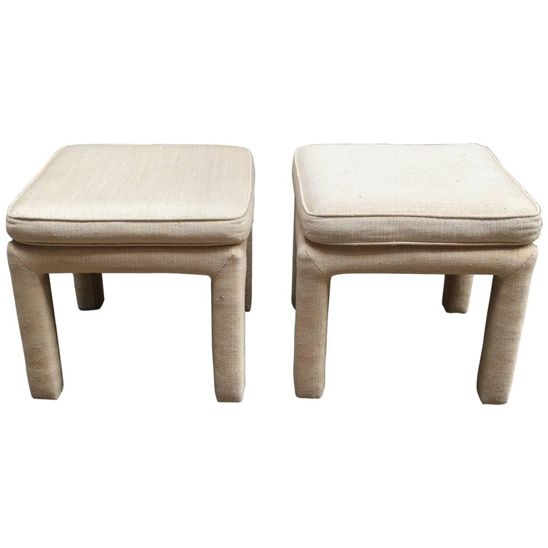 1970s Pair of Upholstered Parsons Stools For Sale