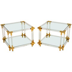 1970s Pair of Vintage Acrylic and Glass Side Tables