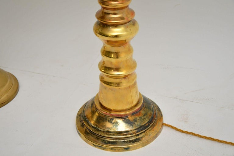 Mid-Century Modern 1970s Pair of Vintage Brass Table Lamps