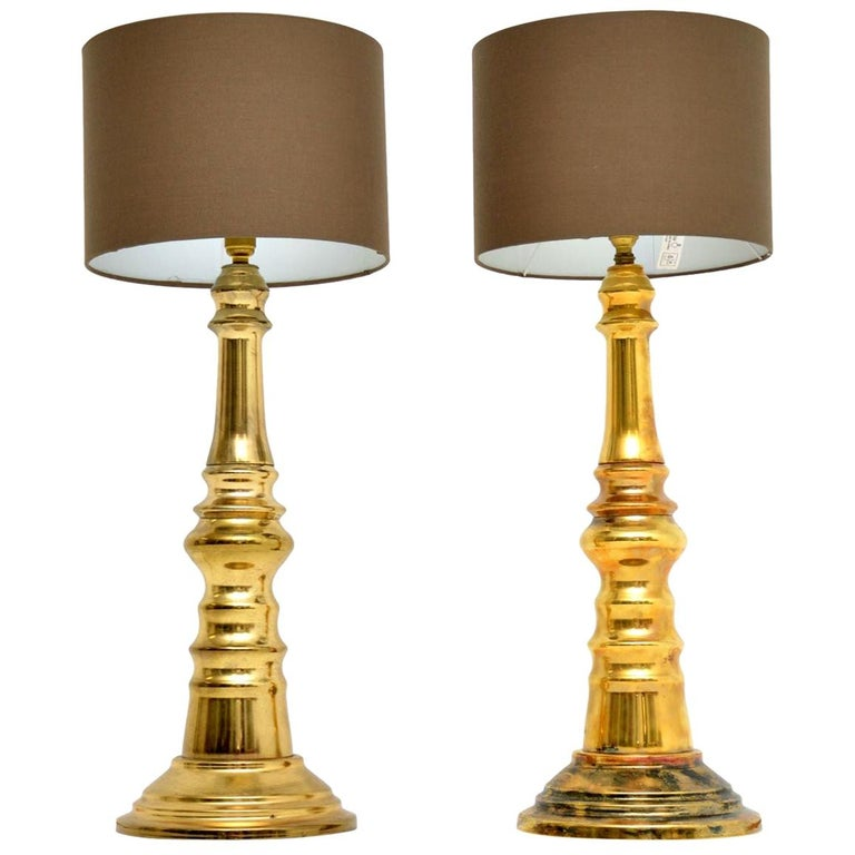 1970s Pair of Vintage Brass Table Lamps