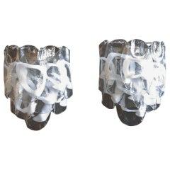 1970s Pair of Vintage Italian Murano Wall Lights, 10 White Lattimo Glasses