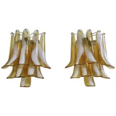 1970s Pair of Vintage Italian Murano Wall Lights in the Manner of Mazzega, Car